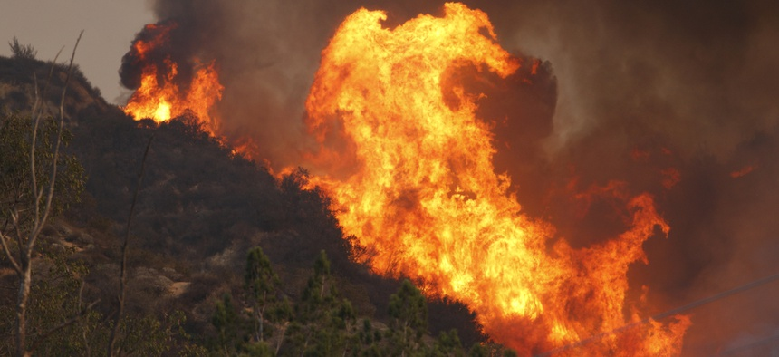 A wildfire near Glendora, California in January 2014.