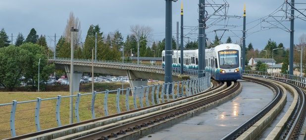 A Sound Transit Link light-rail train travels along its route through Tukwila.