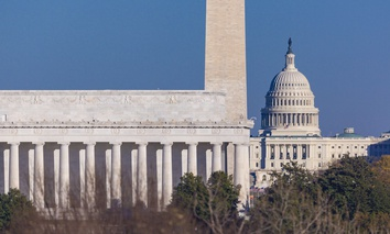 The Lincoln Memorial, Washington Monument and U.S. Capitol in Washington, D.C.