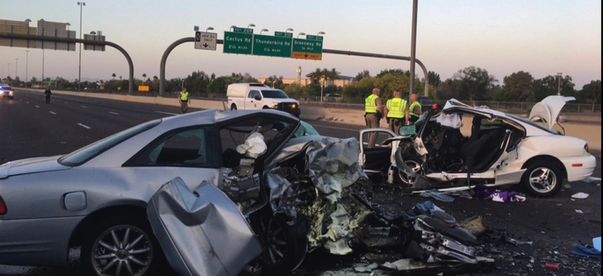 The mangled remains of cars involved in a fatal accident on the Northbound Interstate 17 in Phoenix, Ariz.