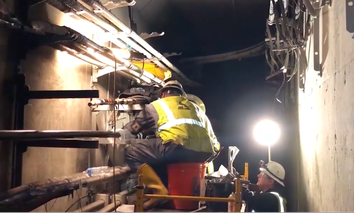 Repair crews work in a tunnel to restore power to Hartsfield-Jackson International Airport in Atlanta.