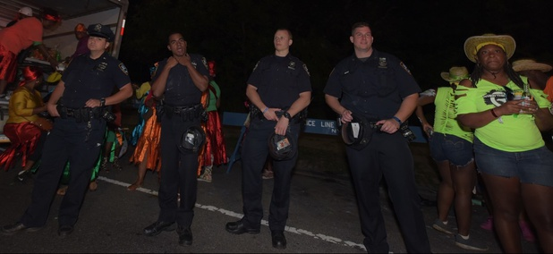 Police presence for the 22nd annual pre-dawn j'ouvert in New York City.