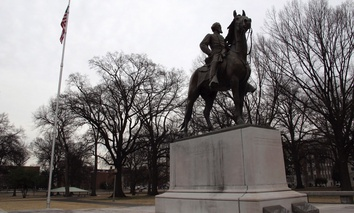 A statue of Nathan Bedford Forrest sits on a concrete pedestal at a park named after the confederate cavalryman on Wednesday, Feb. 6, 2013 in Memphis Tenn.