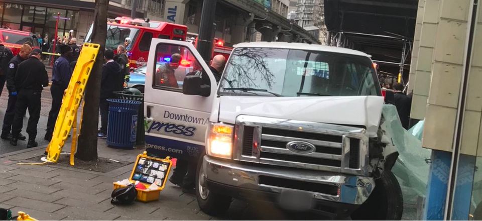 On Dec. 28, a shuttle van jumped a curb in downtown Seattle, sending six people to local hospitals.