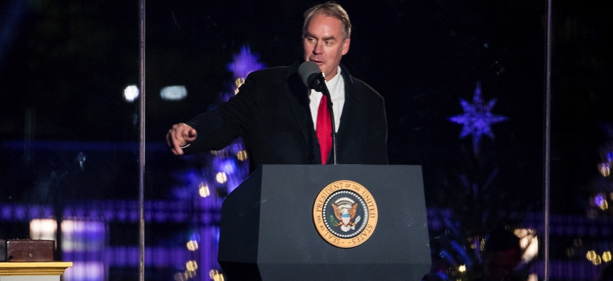 U.S. Interior Secretary Ryan Zinke speaks during the lighting ceremony for the 2017 National Christmas Tree on the Ellipse near the White House.