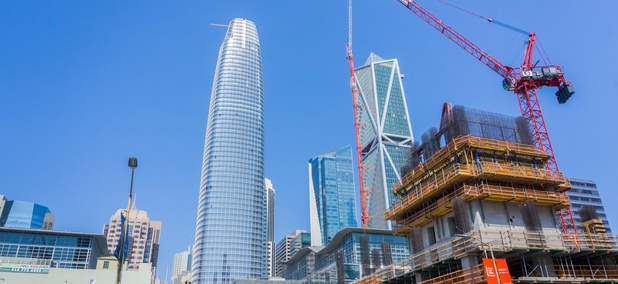 In this September 2017 photo, the Salesforce Tower, at left, in San Francisco's South of Market area nears completion.