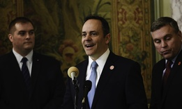 Kentucky Gov. Matt Bevin (center).