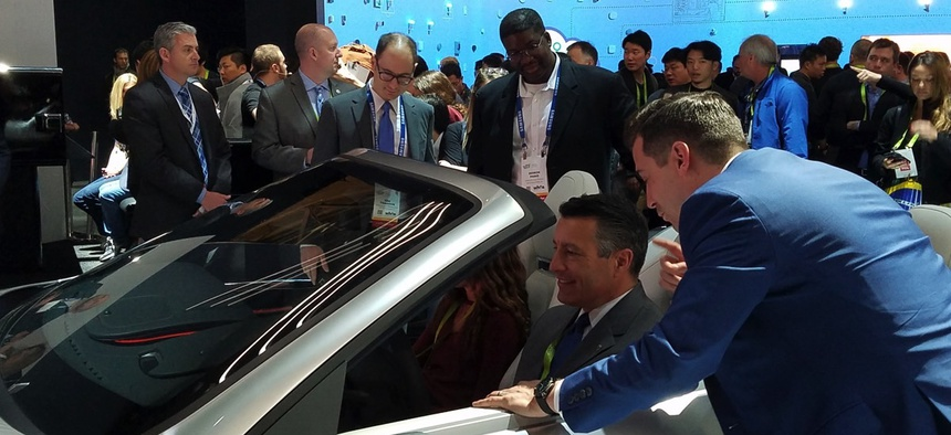 Nevada Governor Brian Sandoval explores new car tech at CES2018