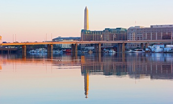The Francis Case Memorial Bridge carries Interstate 395 over Washington Channel in the nation's capital.