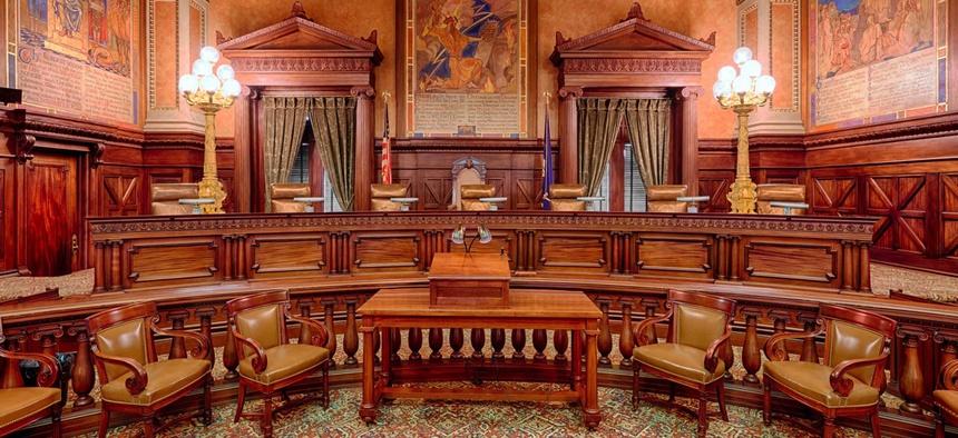 Pennsylvania Supreme Court chambers in Harrisburg, Pa.