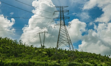 Damaged electric power transmission lines in Guayama, Puerto Rico following Hurricane Maria.