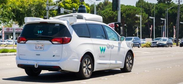 A Waymo self-driving vehicle in Mountain View, California