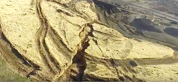 Drone footage shows the Rattlesnake Hills crack near Yakima, Washington.