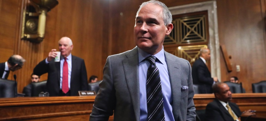 Environmental Protection Agency Administrator Scott Pruitt arrives to testify before the Senate Environment Committee on Capitol Hill in Washington, D.C. on Tuesday.