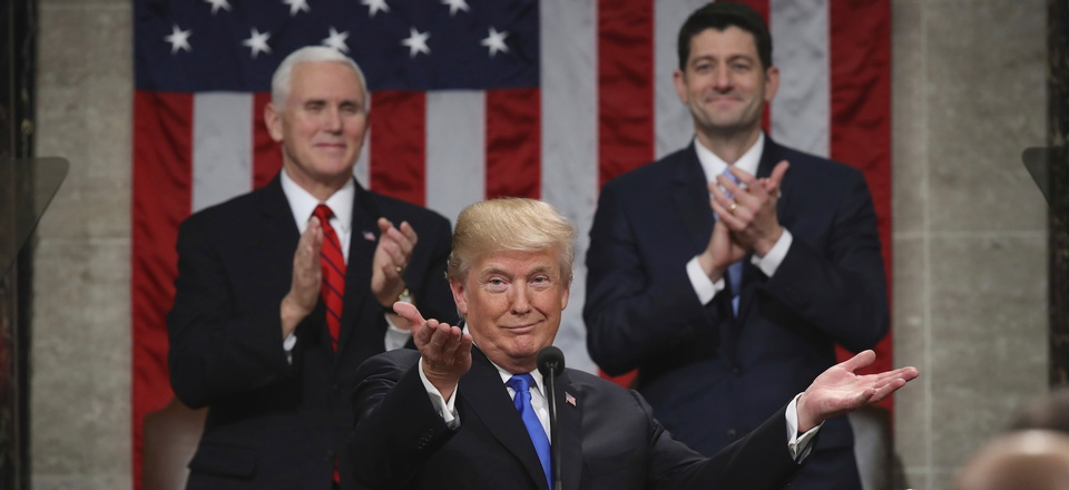 President Donald Trump gestures as delivers his first State of the Union address in the House chamber of the U.S. Capitol to a joint session of Congress Tuesday, Jan. 30, 2018 in Washington, D.C.