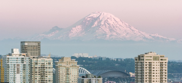 Mount Rainier as seen from Seattle
