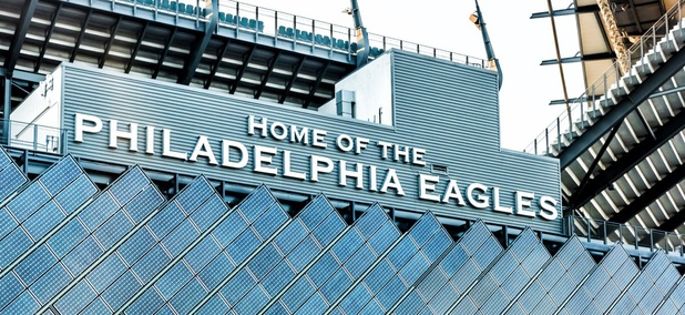 Closeup of sign for Lincoln Financial Field, home of Philadelphia Eagles.
