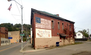 A building in Glouster, Ohio, in October of 2017.