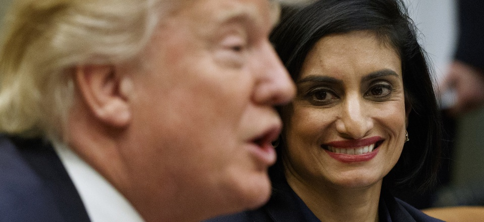 Administrator of the Centers for Medicare and Medicaid Services Seema Verma listen at right as President Donald Trump speaks during a meeting on women in healthcare, Wednesday, March 22, 2017.