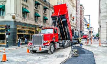 Roadwork in Boston, during July 2017.