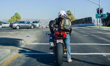 A motorcyclist in San José, California.