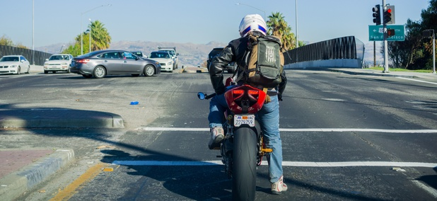 A motorcyclist in San José, California.