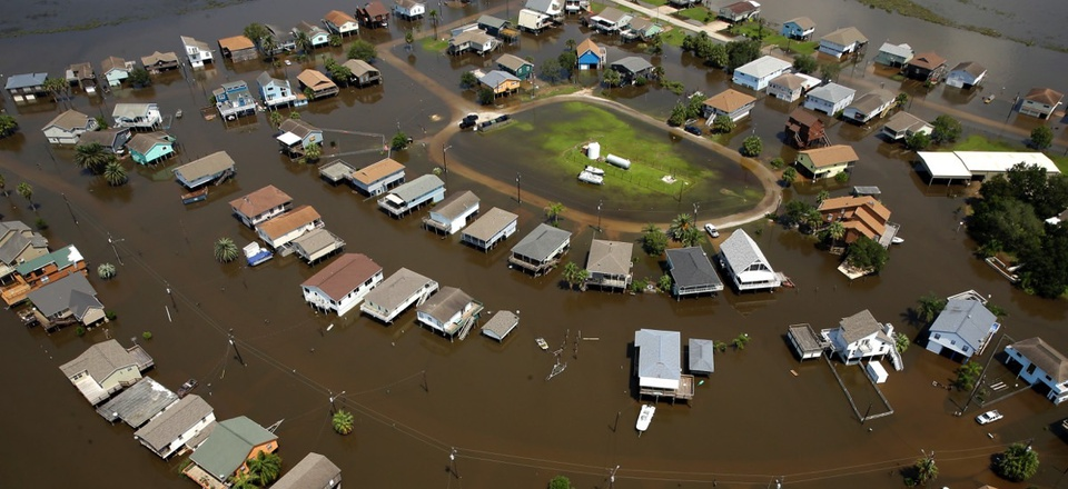 Homes are surrounded by flood water in the aftermath of Hurricane Harvey near Galveston, Texas.