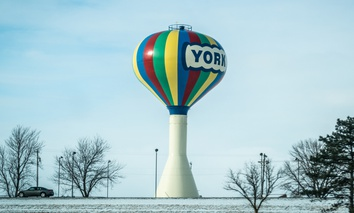 A water tower in York, Nebraska