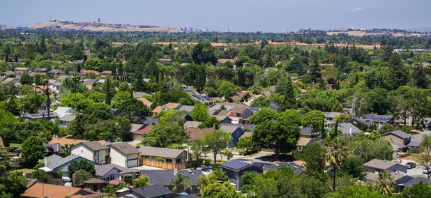 Solar panels dot houses in residential San José, California.