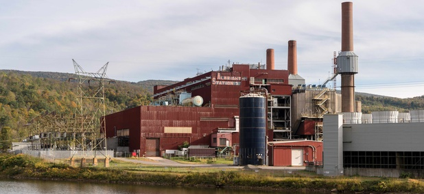 A shuttered coal power station on the banks of the Cheat River in Preston County, West Virginia, during October 2017.