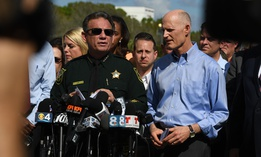 Broward County Sheriff Scott Israel speaks during a news conference with Florida Gov. RIck Scott on Feb. 15 following the school shooting in Parkland.