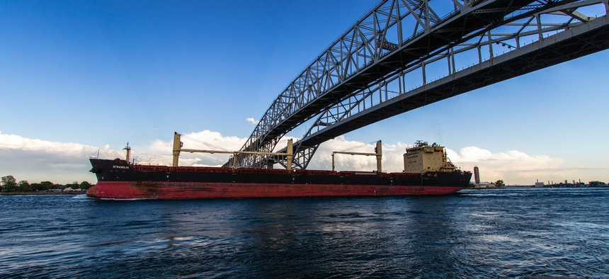 The St. Clair River at Port Huron, Michigan, which is connected to Canada via the Blue Water Bridge, a busy international border crossing.