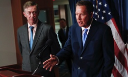 Ohio Gov. John Kasich, right, and Colorado Gov. John Hickenlooper introduce the first version of their bipartisan health blueprint in the summer of 2017.