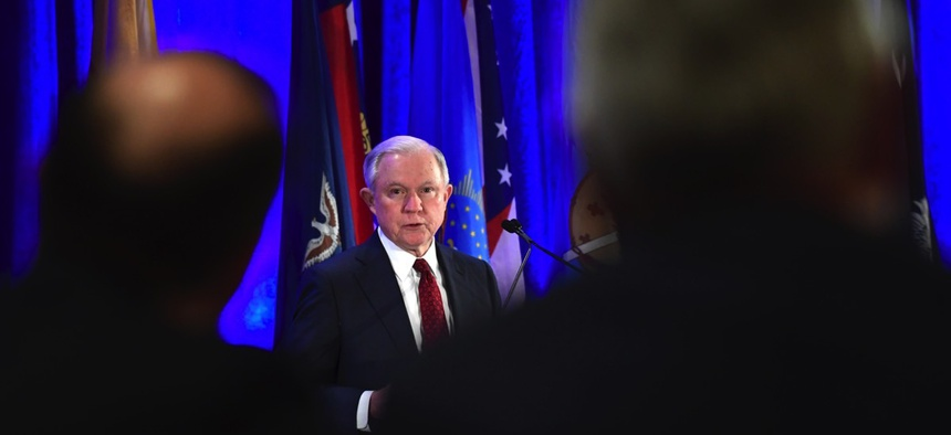Attorney General Jeff Sessions delivers remarks to the National Association of Attorneys General at their winter conference in Washington, D.C. on Tuesday.