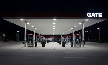 A gas station at night in Florida, during 2014.