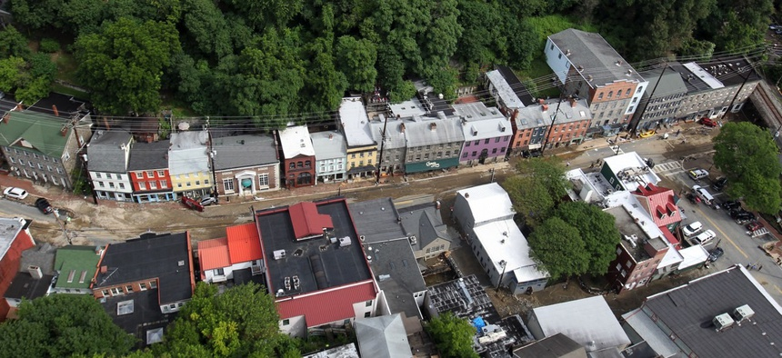 Ellicott City, Maryland after historic 2016 flash flooding.