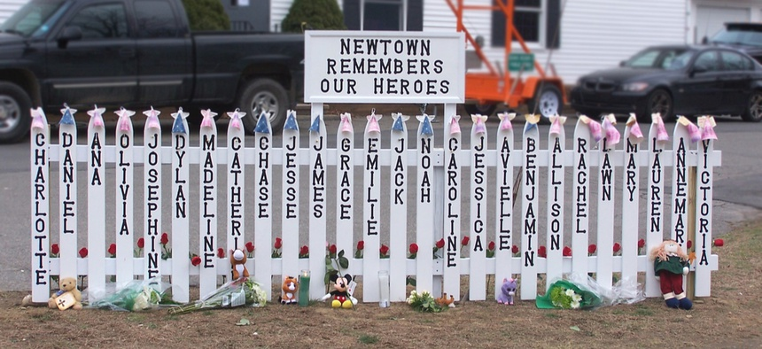 A memorial in Newtown, Connecticut following the 2014 shooting massacre at Sandy Hook Elementary School.