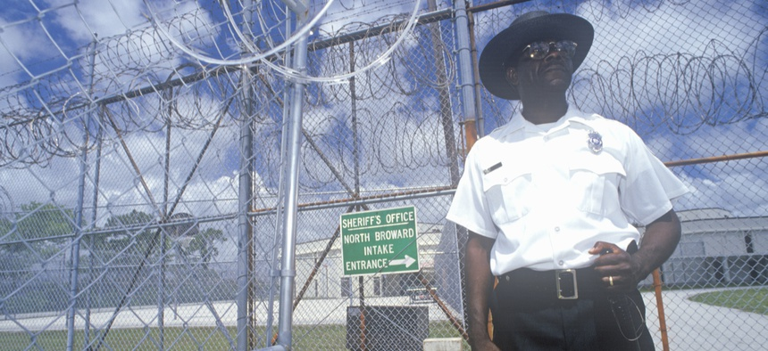 A prison guard at Dade County Correctional Facility in South Florida.