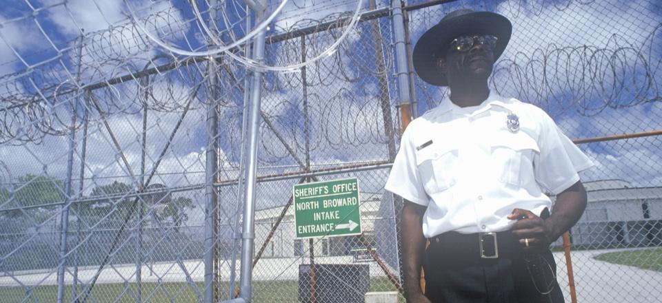 A prison guard at Dade County Correctional Facility in South Florida.