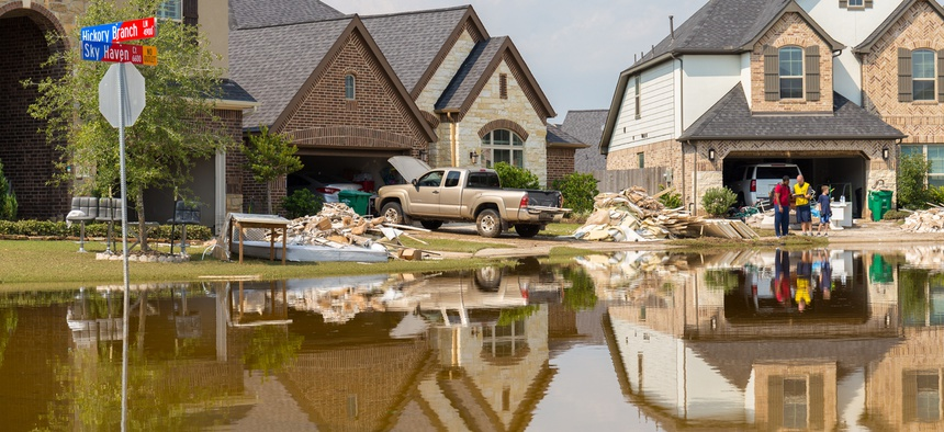 Cleanup begins in Houston suburb Riverstone after Hurricane Harvey and heavy floods.