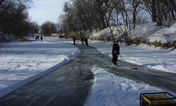 An ice-skating trail was created along one of the Souris River's so-called dead loops.