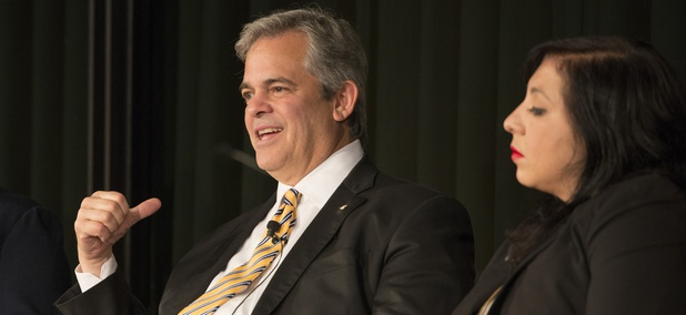 Austin Mayor Steve Adler speaks at the LBJ Library's Future Forum in May 2017.