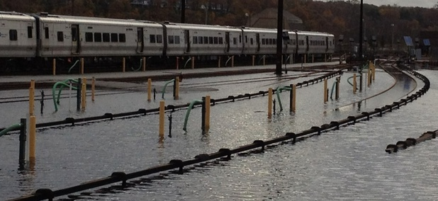 Flooding at Metro-North's Harmon Yard along the Hudson River following Superstorm Sandy in October 2012.