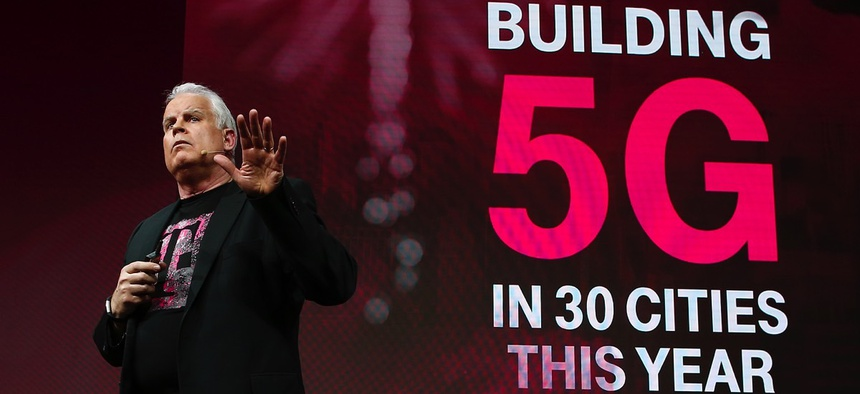 Chief Technology Officer Neville Ray details T-Mobile's plans to build a nationwide 5G network in the U.S. at Mobile World Congress on Feb. 27 in Barcelona, Spain.