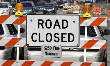 n this Jan. 31, 2013 photo, a road construction project backs up traffic in Springfield, Ill.