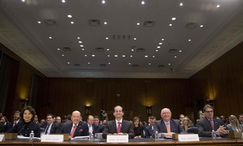 From left, Transportation Secretary Elaine Chao, Commerce Secretary Wilbur Ross, Labor Secretary Alex Acosta, Agriculture Secretary Sonny Perdue, and Energy Secretary Rick Perry before the Senate Committee on Commerce, Science, & Transportation.