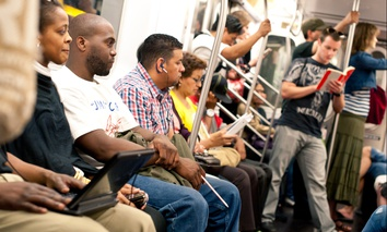 Commuters on the New York subway.