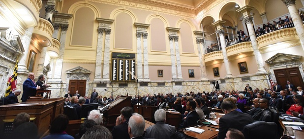 Maryland Gov. Larry Hogan delivers his annual State of the State address to a joint session of the legislature in Annapolis on Jan. 31.