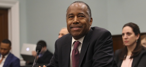 Housing and Urban Development Secretary Ben Carson takes his seat before testifying before a House Committee on Appropriation subcommittee hearing on Capitol Hill in Washington, Tuesday, March 20, 2018.