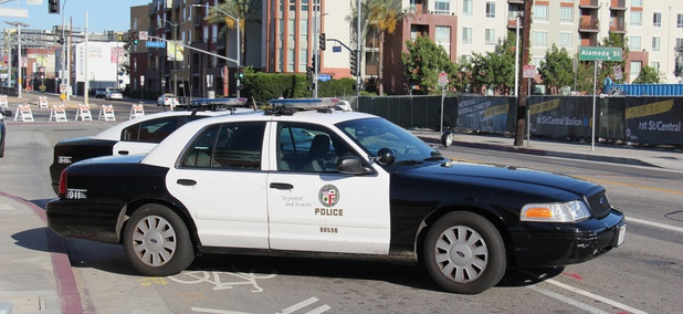Los Angeles Police Department cruisers near First and Alameda streets near Little Tokyo